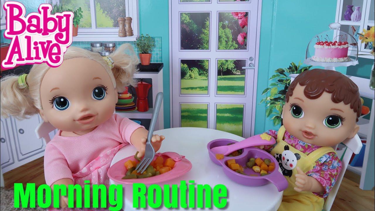 BABY ALIVE Morning Routine Feeding Veggies with pumpkin ...