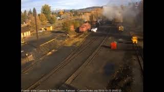 10/25/2018 487 and 484 depart Chama, NM with their work trains