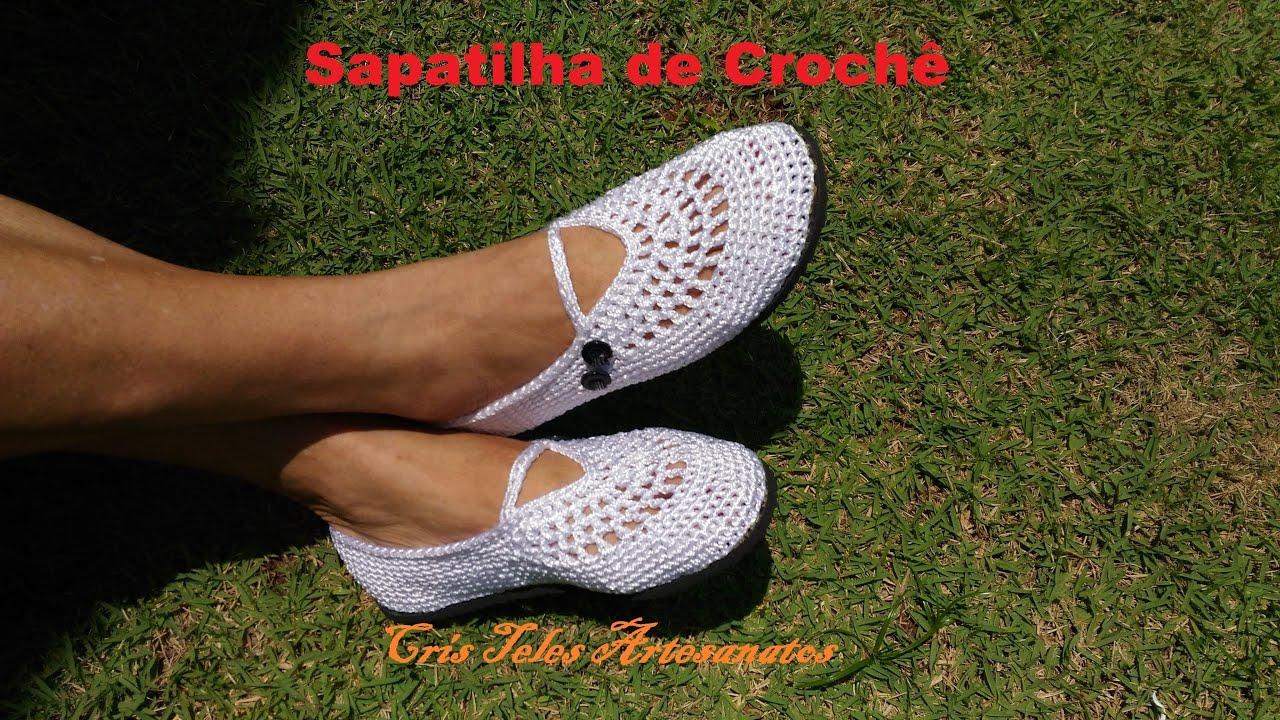 04456832bb Sapatilha de Crochê - YouTube