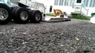 New RC truck lowboy and excavator