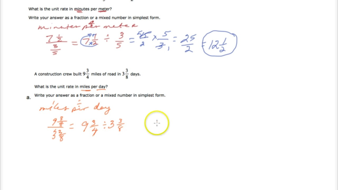 Solving Word Problems With Unit Rates Part 3 Mixed Numbers