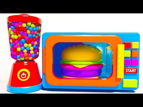 Thumbnail: Learn Colors with Microwave and Blender Cookies Ice Cream Hamburger and Lollipop