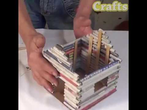 How to make decorative newspaper house?? AMAZING IDEA!! DIY