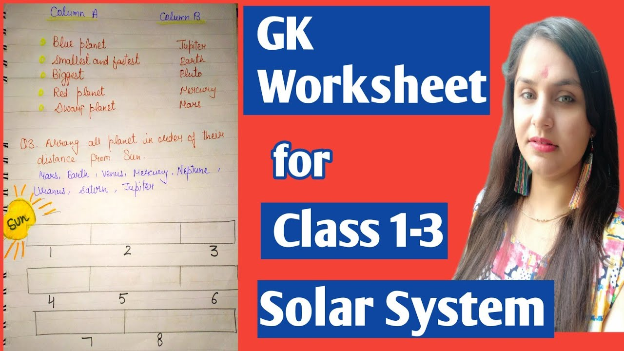 Gk worksheet for class 1-3    Topic - Solar System    Solar system worksheet  #solarsystemandPlanet - YouTube [ 720 x 1280 Pixel ]