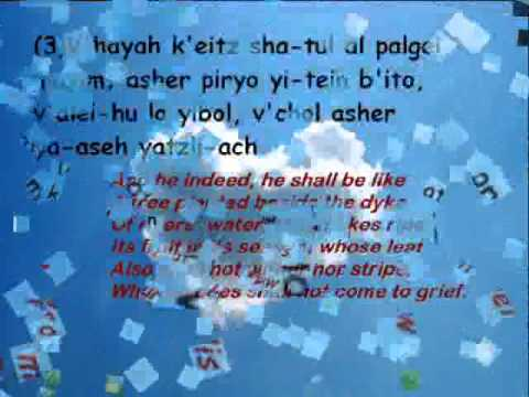 Psalm 1 recited in Hebrew with transliteration and English text wmv