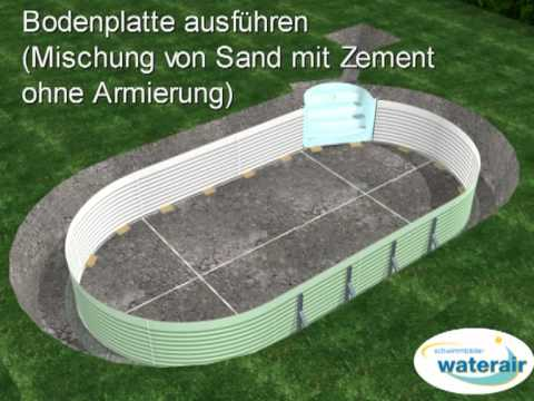 Waterair Schwimmbad Aufstellen - Youtube