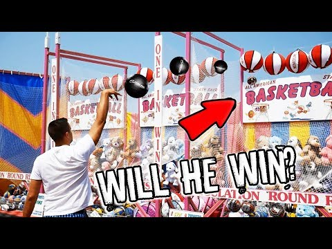PRO Basketball Player VS Rigged Carnival Game. Will He Win?? ArcadeJackpotPro