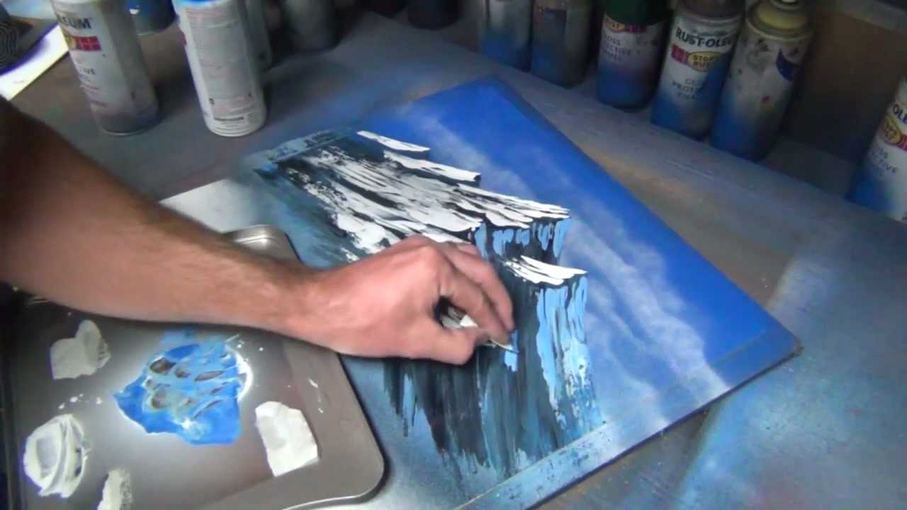 mountain tutorial part 1 of 2 spray paint art youtube. Black Bedroom Furniture Sets. Home Design Ideas