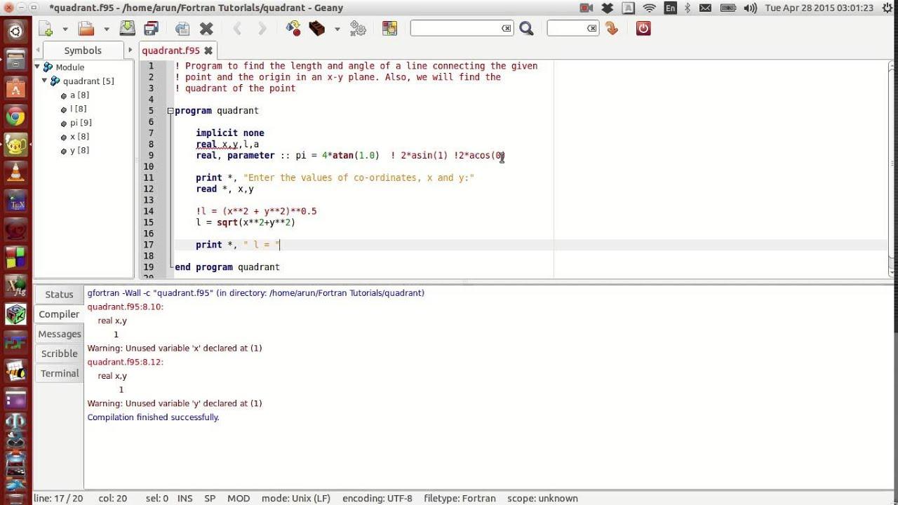 Fortran Programming Tutorials (Revised) : 010 : Intrinsic functions +  Parameter + Execution