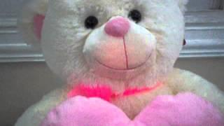 oso con corazón rosado con canción