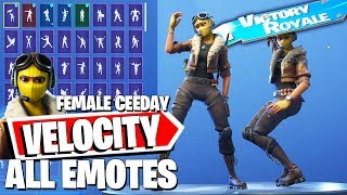 VELOCITY Fortnite Skin (Female Ceeday) with all Dances & Emotes combos