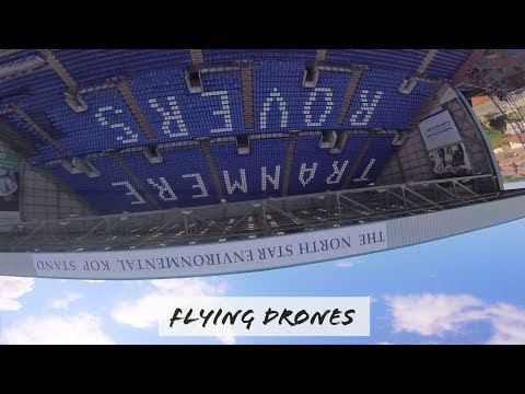 FLYING RACING DRONES IN TRANMERE ROVERS FOOTBALL GROUNDS