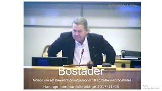 2017-10-09 Haninge kommunfullmäktige - Om att stimulera privatpersoner till att bidra med bostäder thumbnail