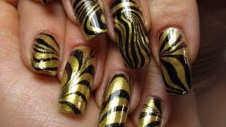 Black and Gold Water Marble Design Nail Art Tutorial