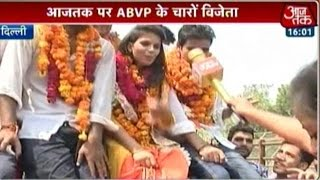 ABVP Sweeps DUSU Polls Wins All 4 Seats