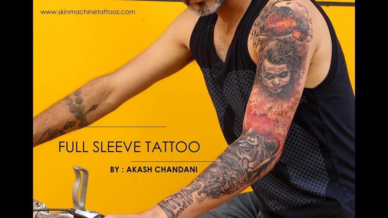 Meditation Tiger Joker Customised Full Sleeve Tattoo By Akash Chandani