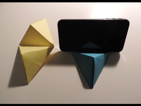 origami cell phone business card stand instructions