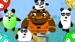 🐾 Четыре панды #2! Побег от туземцев с острова! Мультик Игра  Мультфильм для малышей