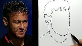 SKILL DEWA, menggambar NEYMAR, cepat dan mudah / how to draw neymar