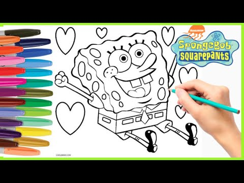 Menggambar dan Mewarnai Spongebob Squarepants | Mewarnai Anak Anak | Spongebob Coloring Book Pages