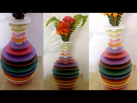 How To Make Flower Vase At Home Rainbow Best Out Of Waste