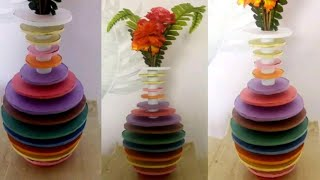 How to make flower vase at home ( Rainbow ) || best out of waste
