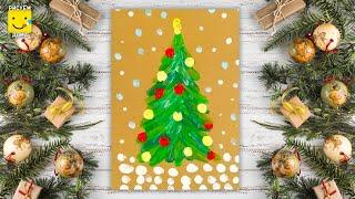 Как нарисовать новогоднюю елку пальчиковыми красками? Урок рисования для детей от 2 лет