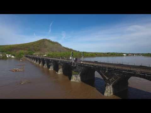 Rockville Bridge Railroad Drone Flight 4K - Pennsylvania