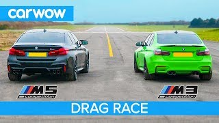 BMW M5 Comp v BMW M3 Comp - RWD-mode DRAG RACE, ROLLING RACE & BRAKE TEST