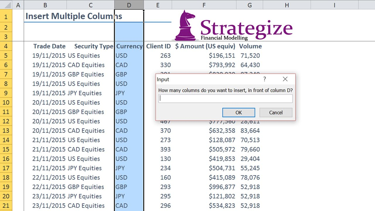Insert Multiple Columns Using Excel Vba