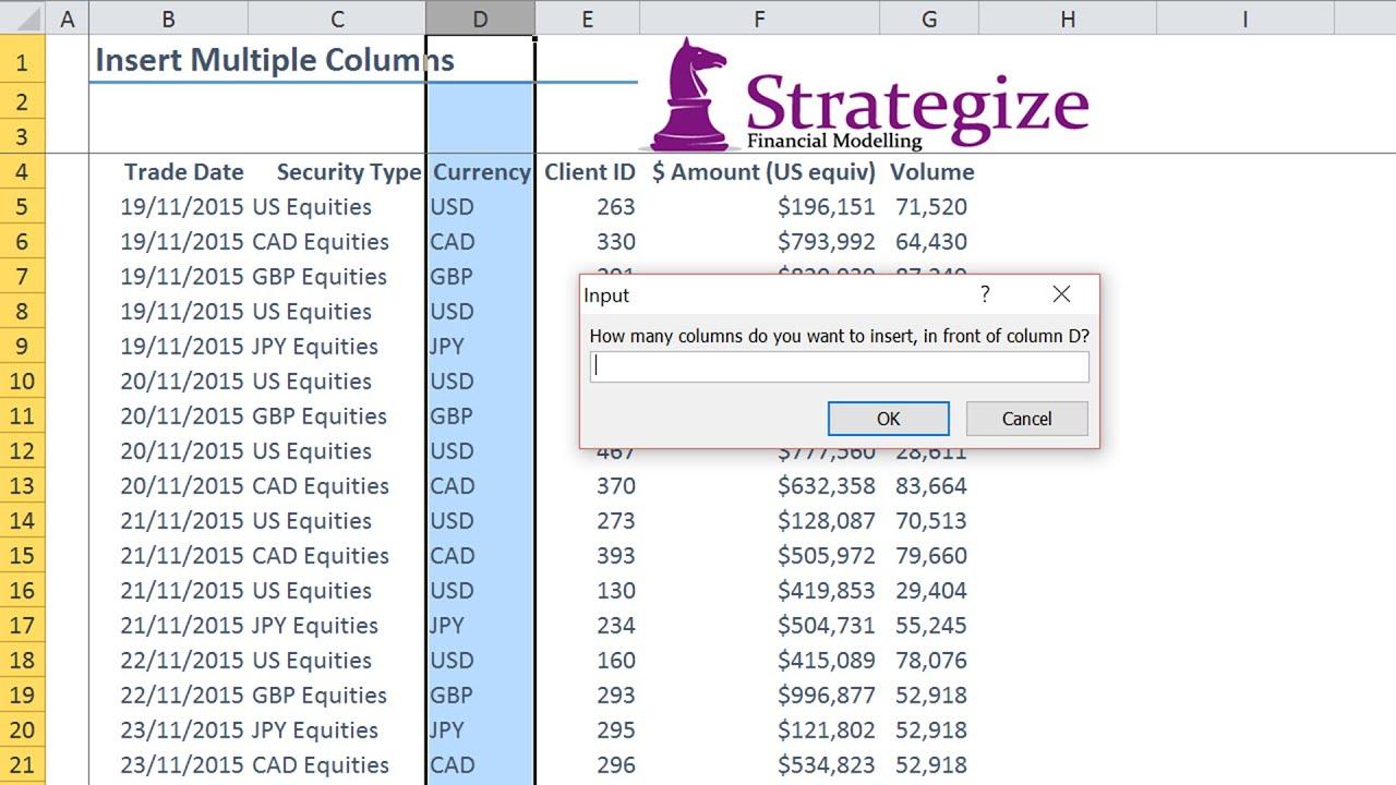 Insert Multiple Columns Using Excel Vba
