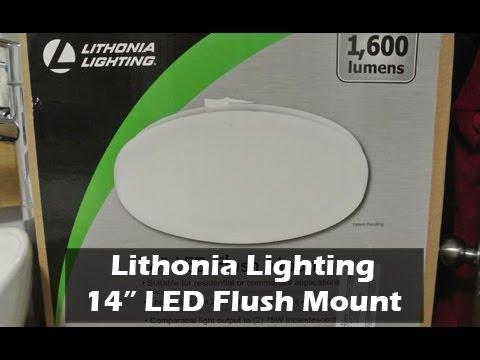 """Lithonia Led Bathroom Lighting lithonia lighting - 14"""" round low profile white led flush mount"""