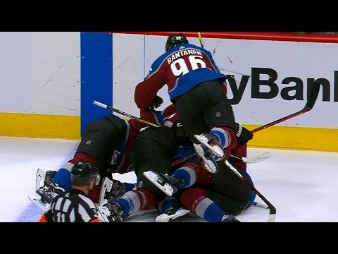 Avalanche dog pile on Gabriel Landeskog