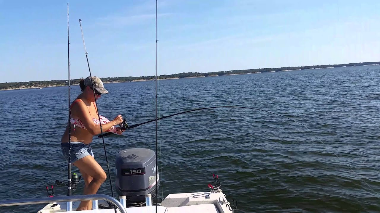 Lake whitney striper fishing youtube for Lake whitney fishing