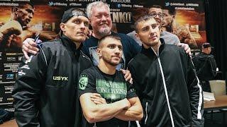 Українські боксери Усик, Ломаченко та Гвоздик перед боєм у Вашингтоні.