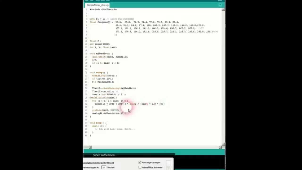 Arduino due ctcss sound with timer interrupt and da