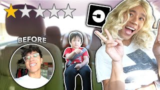 PICKED UP MY LIL BROTHER IN AN UBER DISGUISED AS A WOMAN! **try not to laugh**
