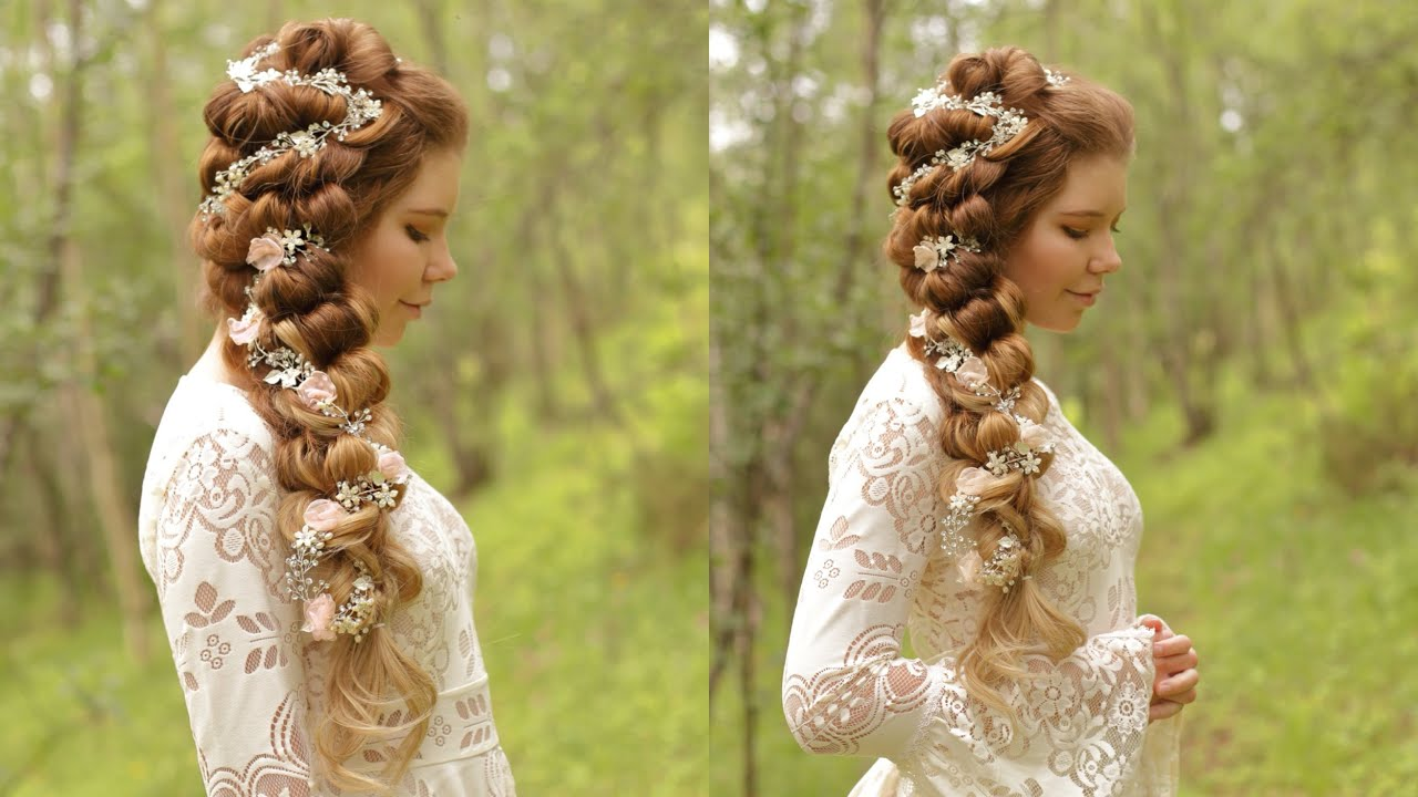 side swept braid wedding hair