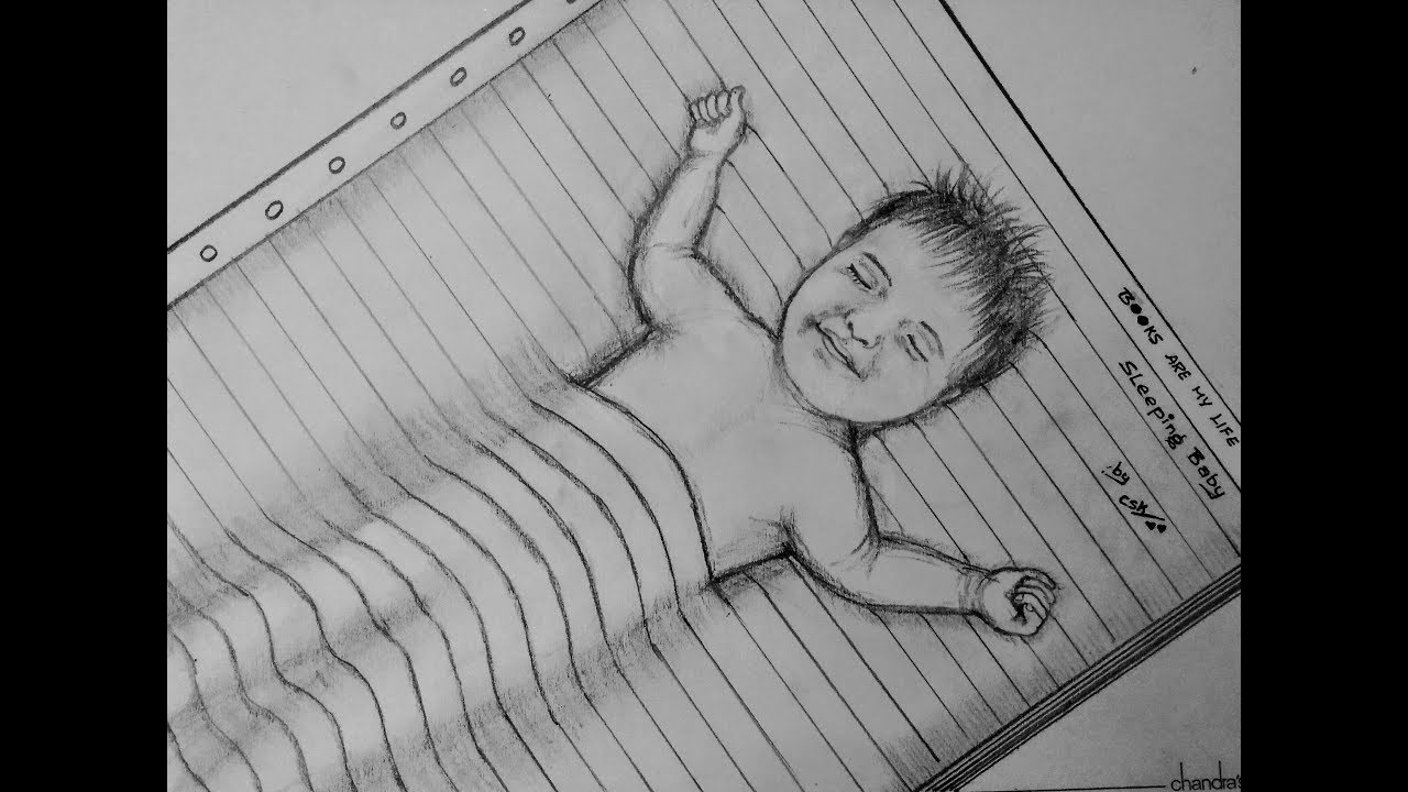 How to draw pencil sketch sleeping baby