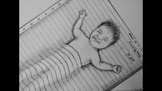 How to draw pencil sketch #sleeping baby