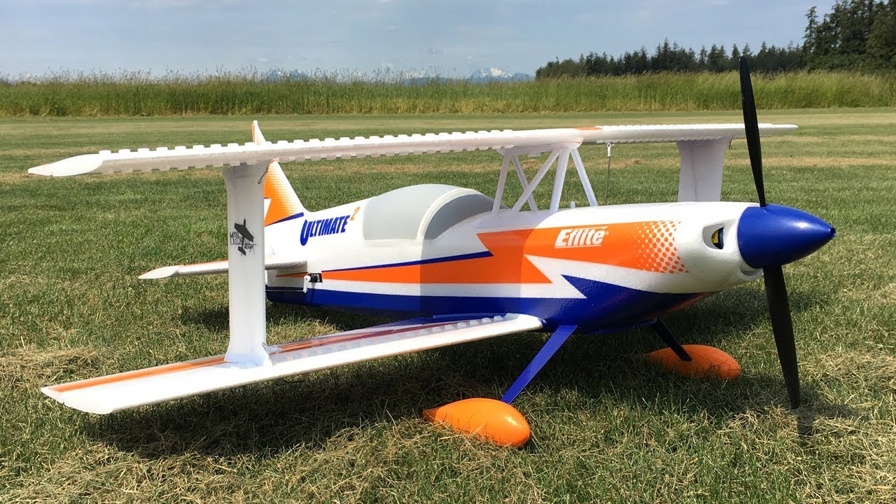 Bill's E-flite Ultimate 2 Biplane BNF RC Plane with SAFE Maiden Flight Near  Crash!