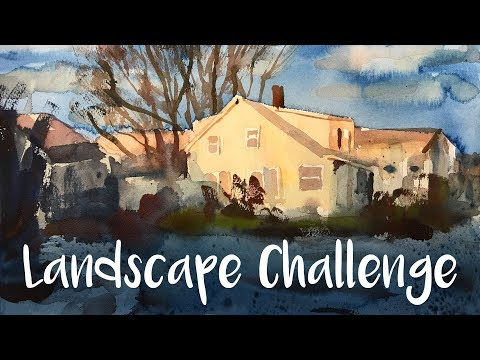 February Painting Challenge and Watercolor Landscape of a House