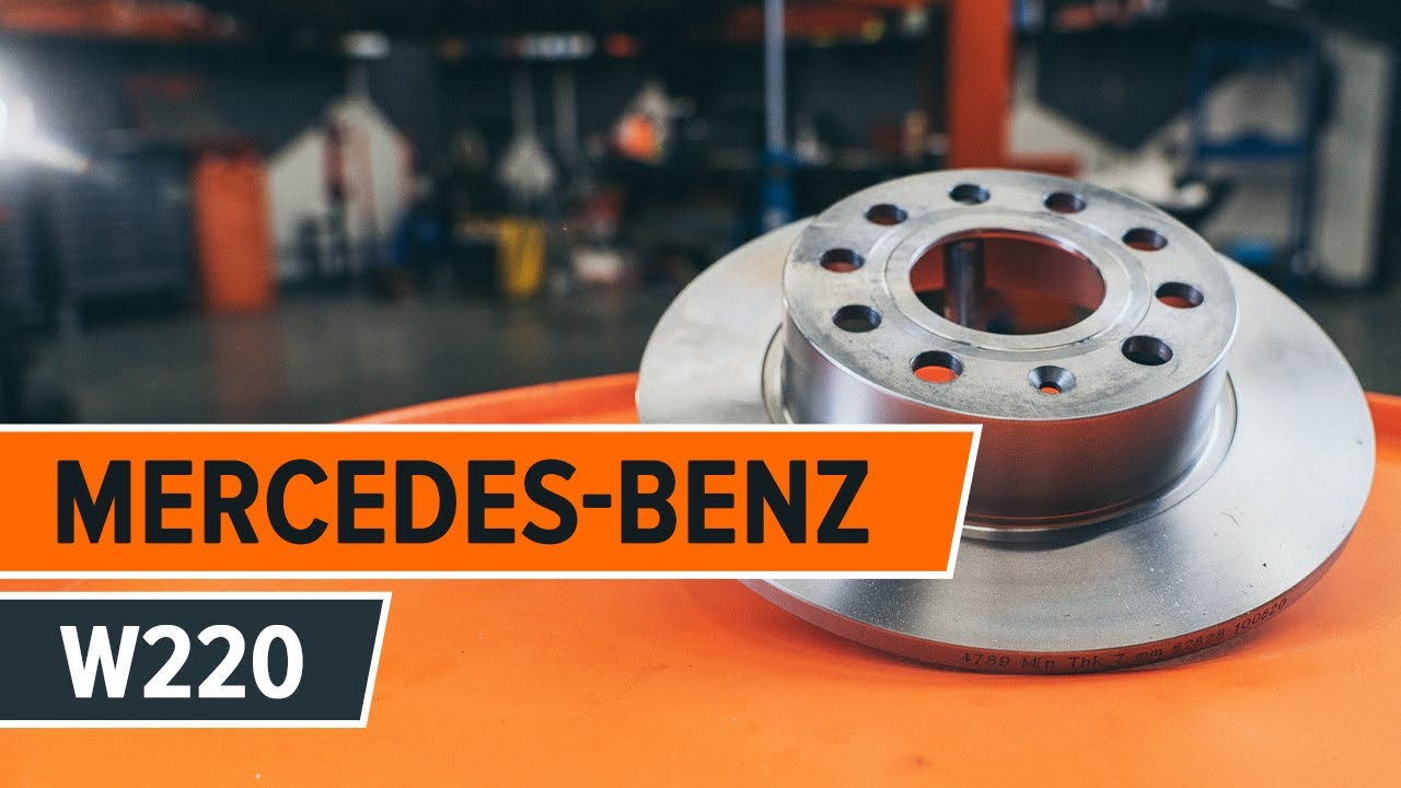 how to change a rear brake discs and rear brake pads on mercedes benz s w220 tutorial autodoc [ 1280 x 720 Pixel ]