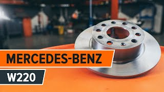 How to change a rear brake discs and rear brake pads on MERCEDES-BENZ S W220 TUTORIAL | AUTODOC