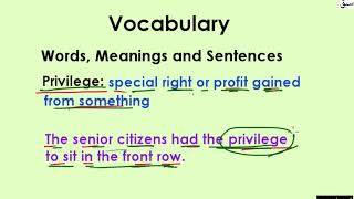 Vocabulary (words/meanings/sentences) Part 2