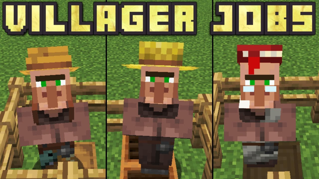 Minecraft 9.96 - How To Give Villagers Jobs! (Every Villager Job)