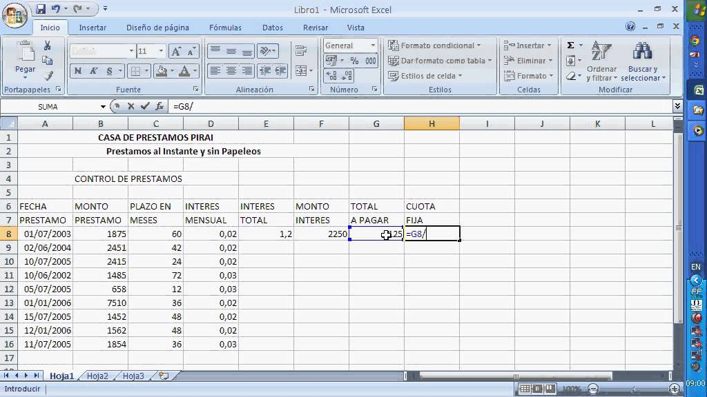 Calculo de prestamos excel for Calculo intereses hipoteca clausula suelo