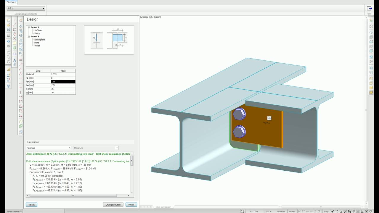 FEM-Design Steel Joint - built in 3D Structure (English)