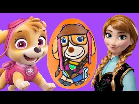 Disney Frozen Princess Anna x Paw Patrol Skye Giant Play Doh Surprise Egg Opening on DCTC