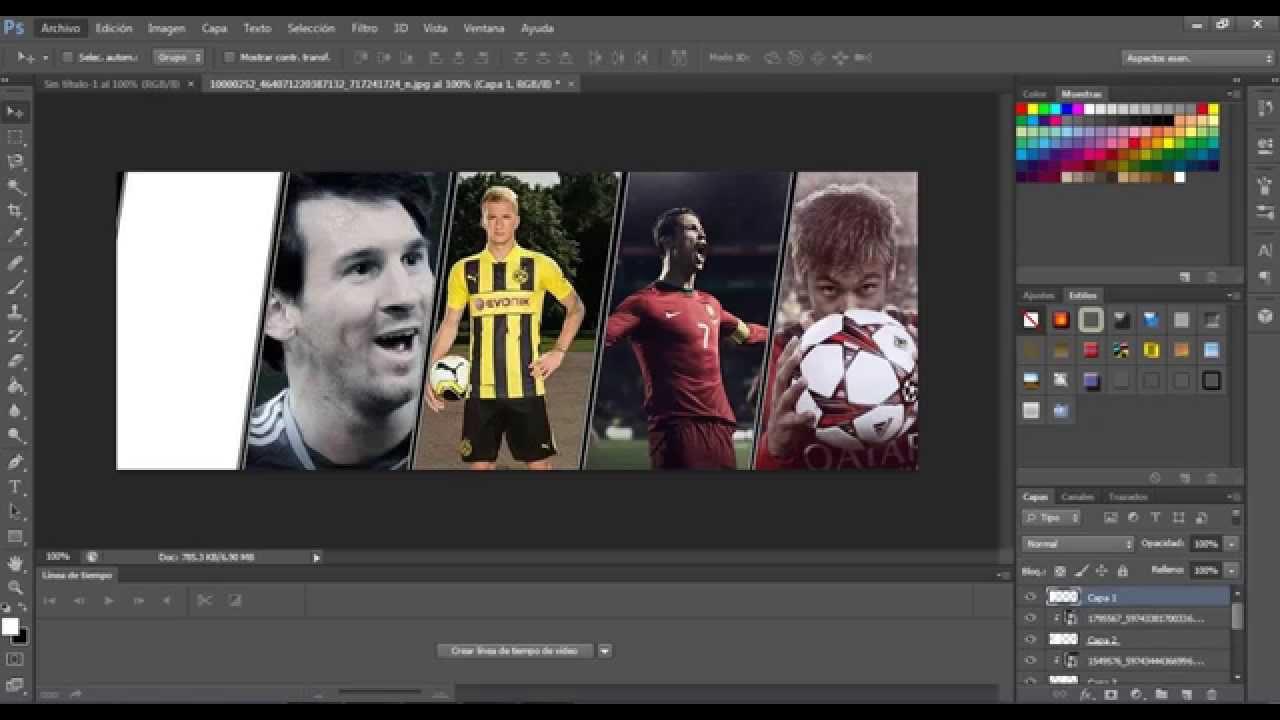Como Hacer Portadas De futbol Con Plantillas facil con Photoshop :D ...